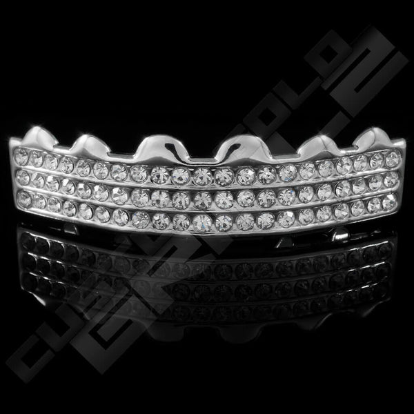 Silver Plated 3 Row Iced Out Grillz Instantly-Made Top Front View