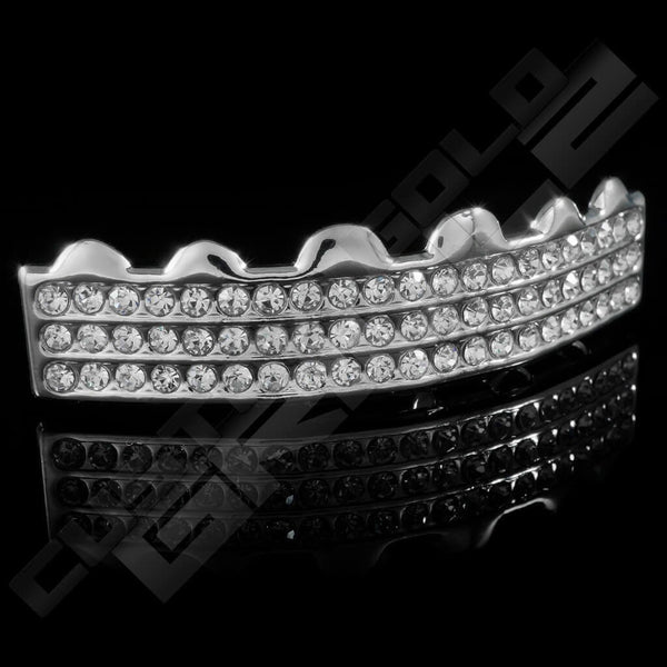 Silver Plated 3 Row Iced Out Grillz Instantly-Made Top Side View