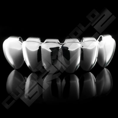 Silver Plated 6 Tooth Premium Grillz Instantly-Made Bottom Front View
