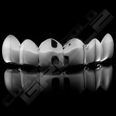 Silver Plated 6 Tooth Premium Grillz Instantly-Made Top Front View