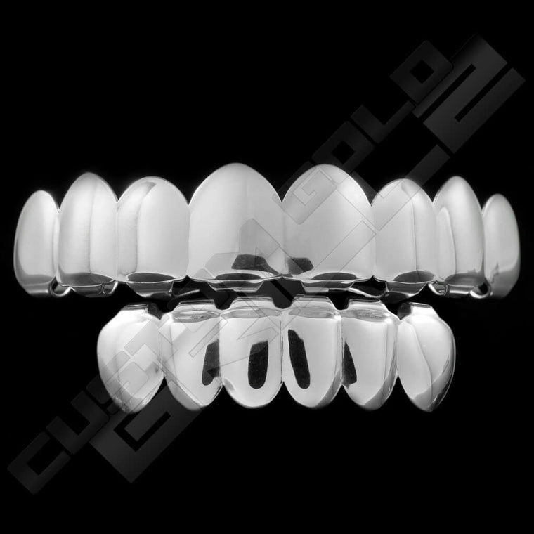 [PRE-MADE] Silver Plated 8 Tooth Premium Grillz