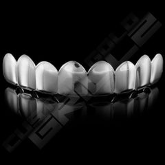 Silver Plated 8 Tooth Premium Grillz Instantly-Made Top Front View