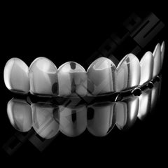 Silver Plated 8 Tooth Premium Grillz Instantly-Made Top Side View