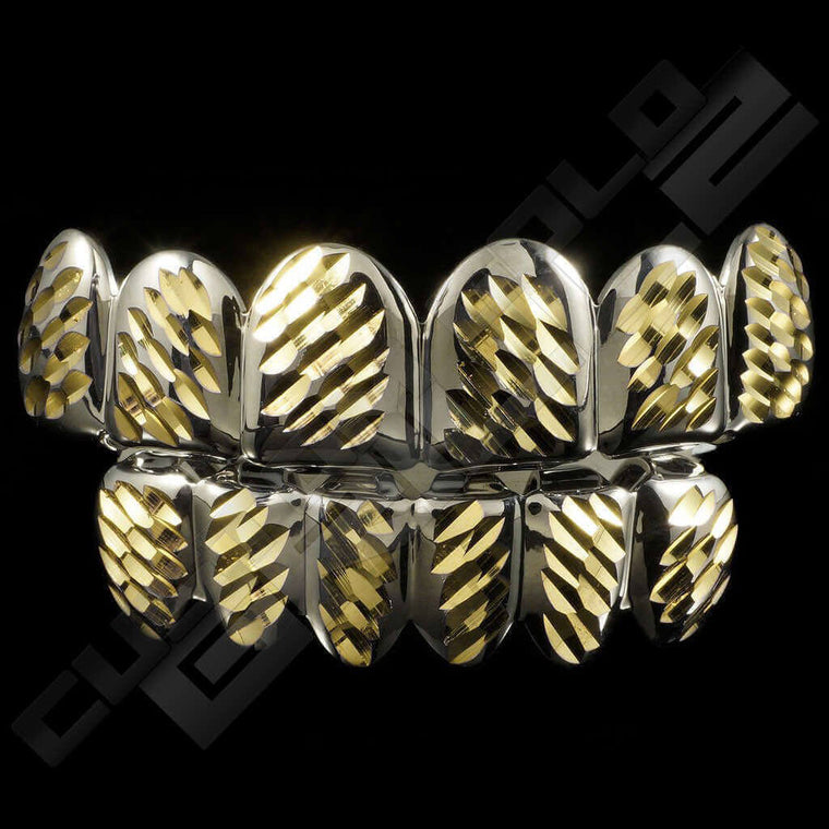 [PRE-MADE] Silver Plated Gold Diamond Cut Grillz