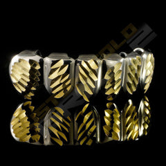 Silver Plated Gold Diamond Cut Grillz Instantly-Made Bottom Side View
