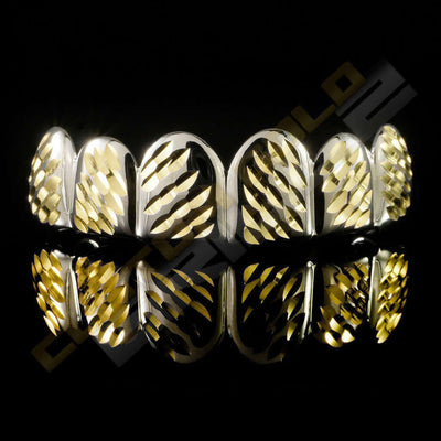 Silver Plated Gold Diamond Cut Grillz Instantly-Made Top Front View