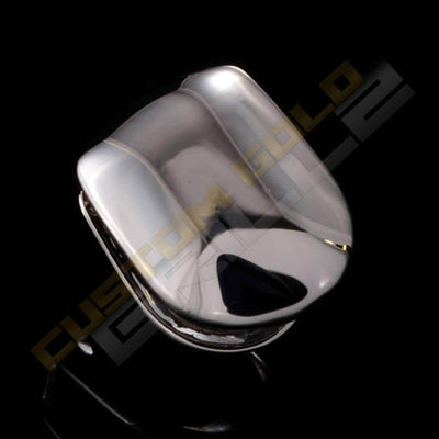 Silver Plated Single Top Tooth Grill Instantly-Made Top Side View