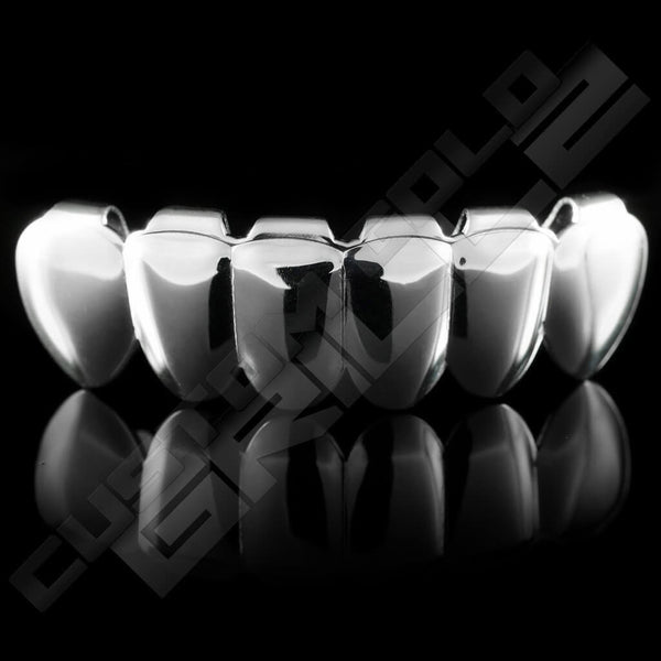 Silver Plated Vampire Fangs Grillz Instantly-Made Bottom Front View