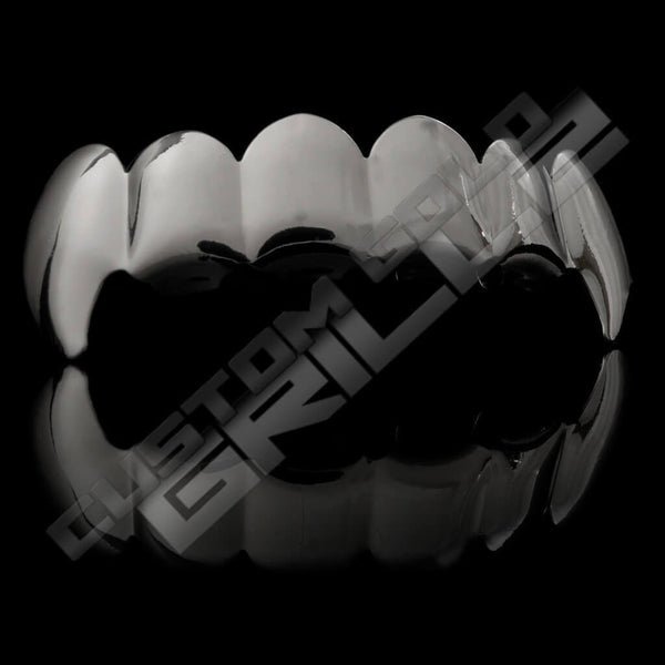 Silver Plated Vampire Fangs Grillz Instantly-Made Top Side View