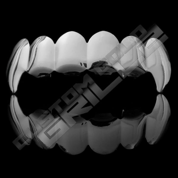 Silver Plated Vampire Fangs Grillz Instantly-Made Top Front View