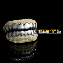 Solid .925 Sterling Silver Deep Cut Custom-Made Grillz including Logo on Black Background