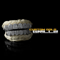 Solid .925 Sterling Silver Iced Out CZ Block Custom-Made Grillz including Logo on Black Background