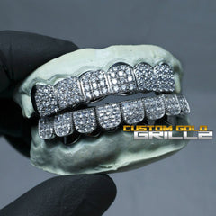 Solid .925 Sterling Silver Iced Out CZ Block Custom-Made Grillz including Logo on Actual Size