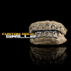 Solid .925 Sterling Silver Open Face Custom-Made Grillz including Logo on Black Background