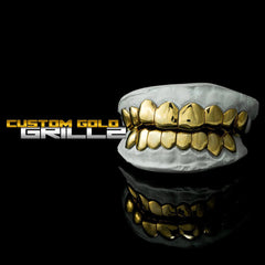 Solid Gold Deep Cut Custom-Made Grillz including Logo on Black Background