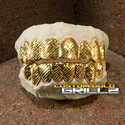 Solid Gold Diamond Cut Custom-Made Grillz including Logo on Creative Background