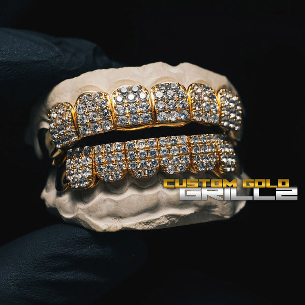 Solid Gold Iced Out CZ Block Custom-Made Grillz including Logo on Actual Size
