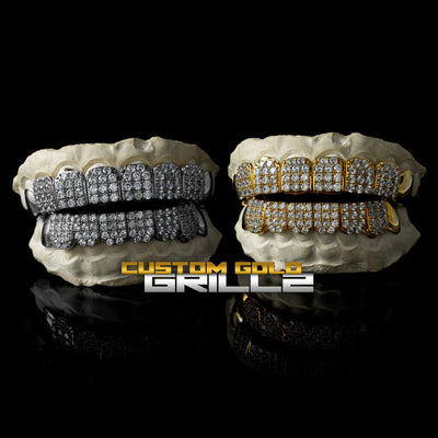 Solid Gold Iced Out CZ Block Custom-Made Grillz including Logo on Black Background
