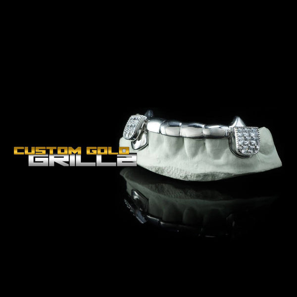 Solid Sterling Silver 6 Teeth Connecting Bridge Custom-Made Grillz Bar with CZ Block on Black Background