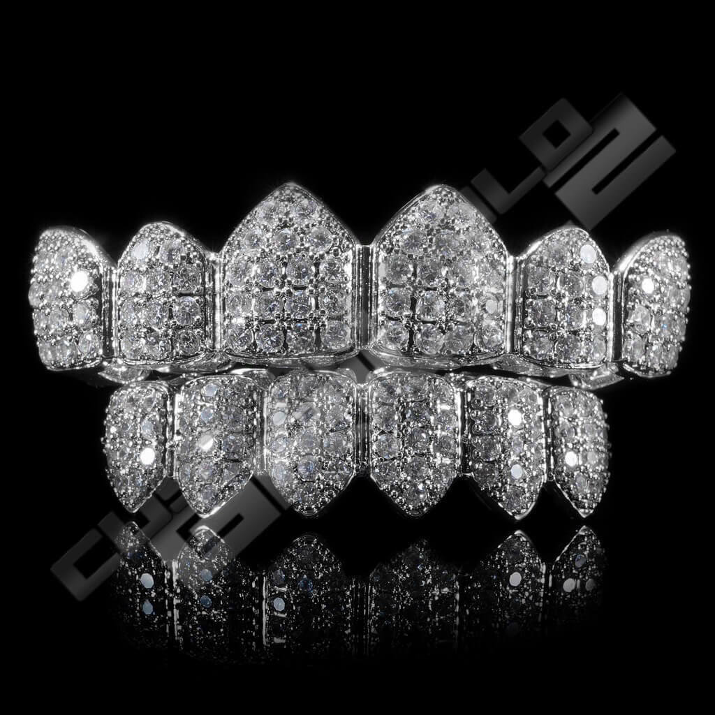 White Gold Plated CZ Cluster Premium Grillz Instantly-Made Main