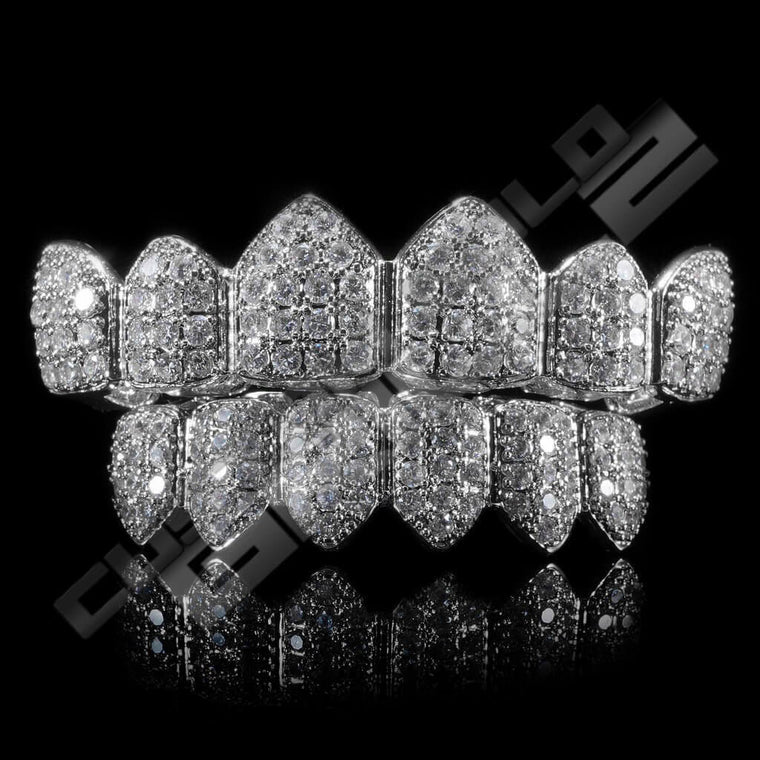 9fc483d2b6b3  PRE-MADE  White Gold Plated CZ Cluster Premium Grillz