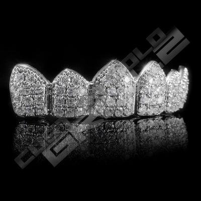White Gold Plated CZ Cluster Premium Grillz Instantly-Made Top Side View