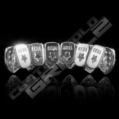 White Gold Plated CZ Cluster Premium Grillz Instantly-Made Back View