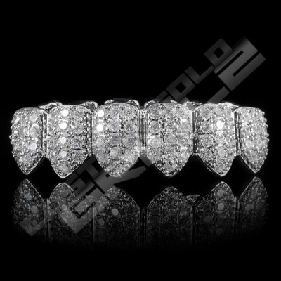 White Gold Plated CZ Cluster Premium Grillz Instantly-Made Bottom Front View