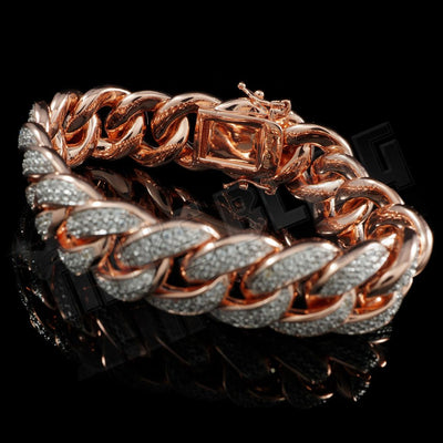 15mm Diamond 2 Row Iced Cuban Link Bracelet in Rose Gold