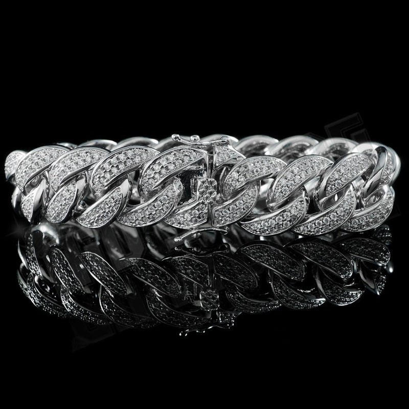 15mm Diamond 2 Row Iced Cuban Link Bracelet in White Gold