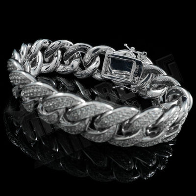 Diamond 2 Row Iced Cuban Link Bracelet in White Gold