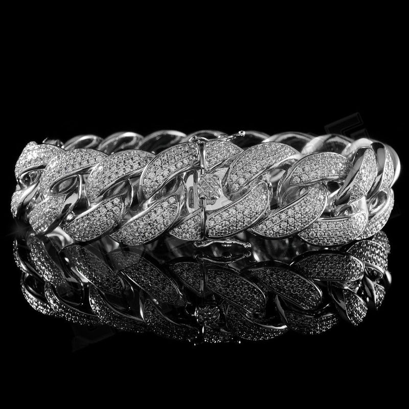 18mm Diamond 3 Row Iced Cuban Link Bracelet in White Gold