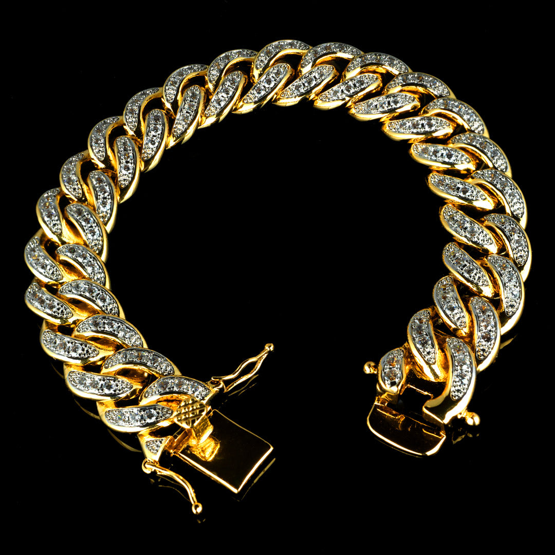13mm Diamond Cuban Link Bracelet in Yellow Gold