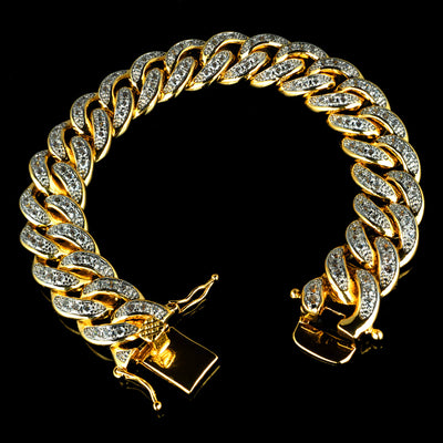 Diamond Cuban Link Bracelet in Yellow Gold