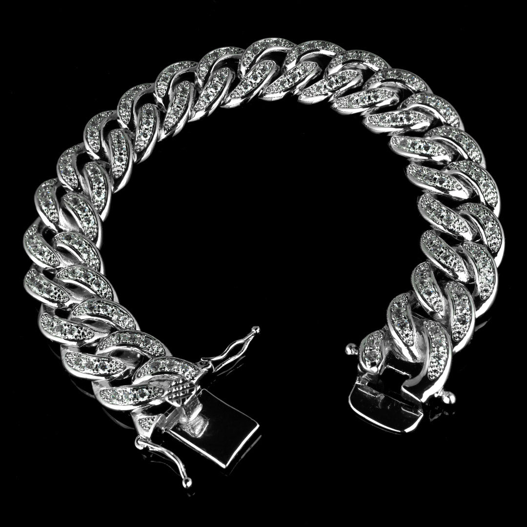 13mm Diamond Cuban Link Bracelet in White Gold
