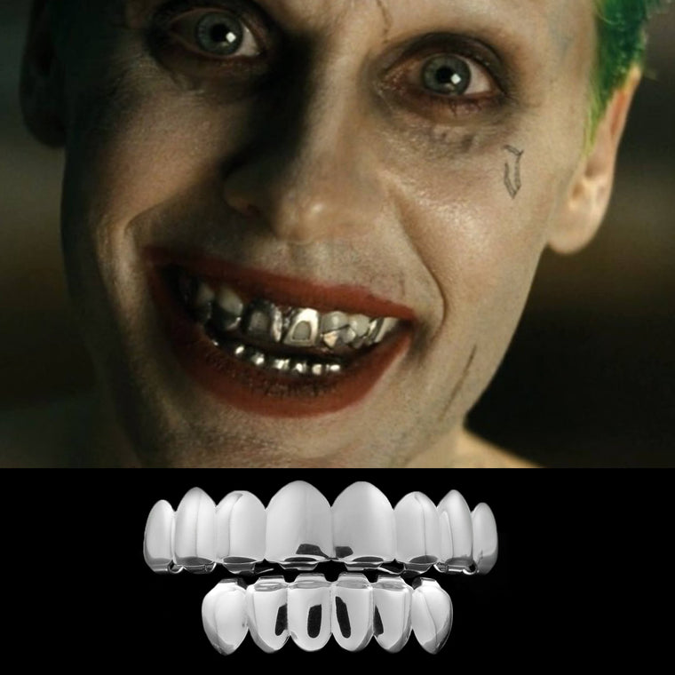 [PRE-MADE] Silver Joker Grill Fake Costume Teeth