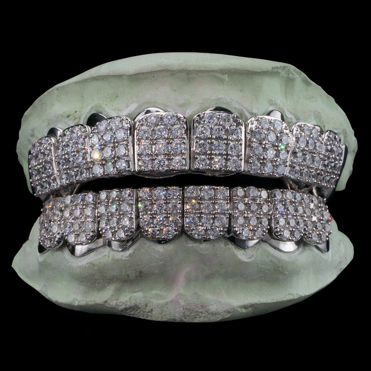 [CUSTOM-FIT] Solid .925 Sterling Silver Iced Out CZ Block Grillz