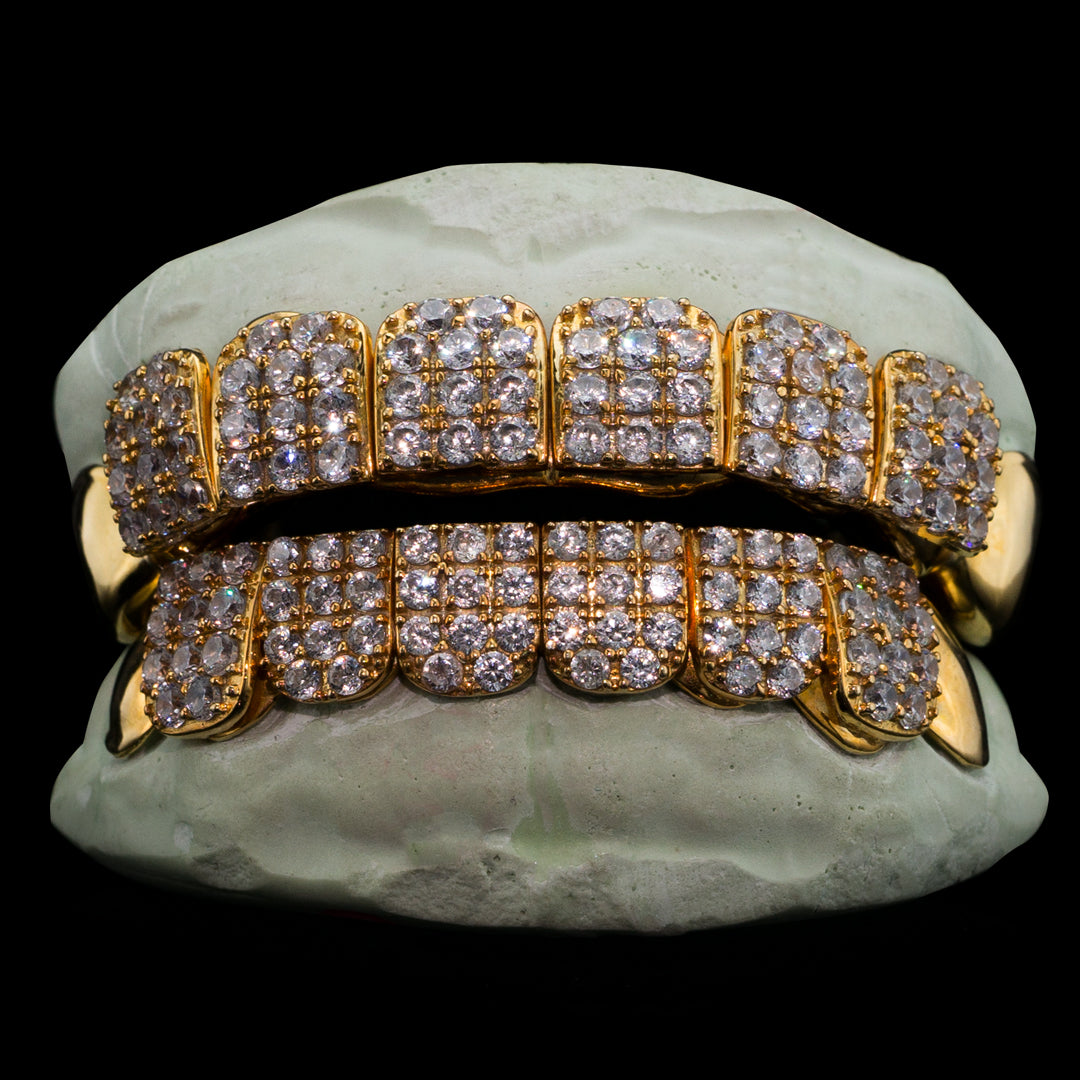 Solid Gold Iced Out CZ Block Custom-Made Grillz Main