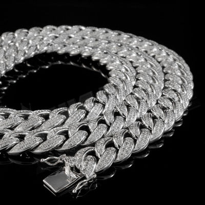 Diamond 2 Row Miami Cuban Link Chain in White Gold