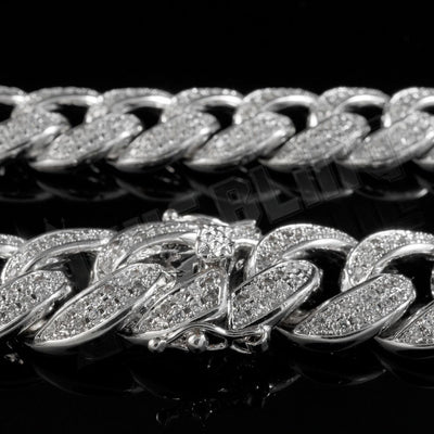 15mm Diamond 2 Row Miami Cuban Link Chain in White Gold