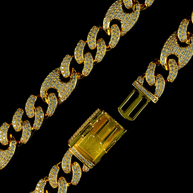 15mm Diamond Mariner Cuban Bracelet in Yellow Gold