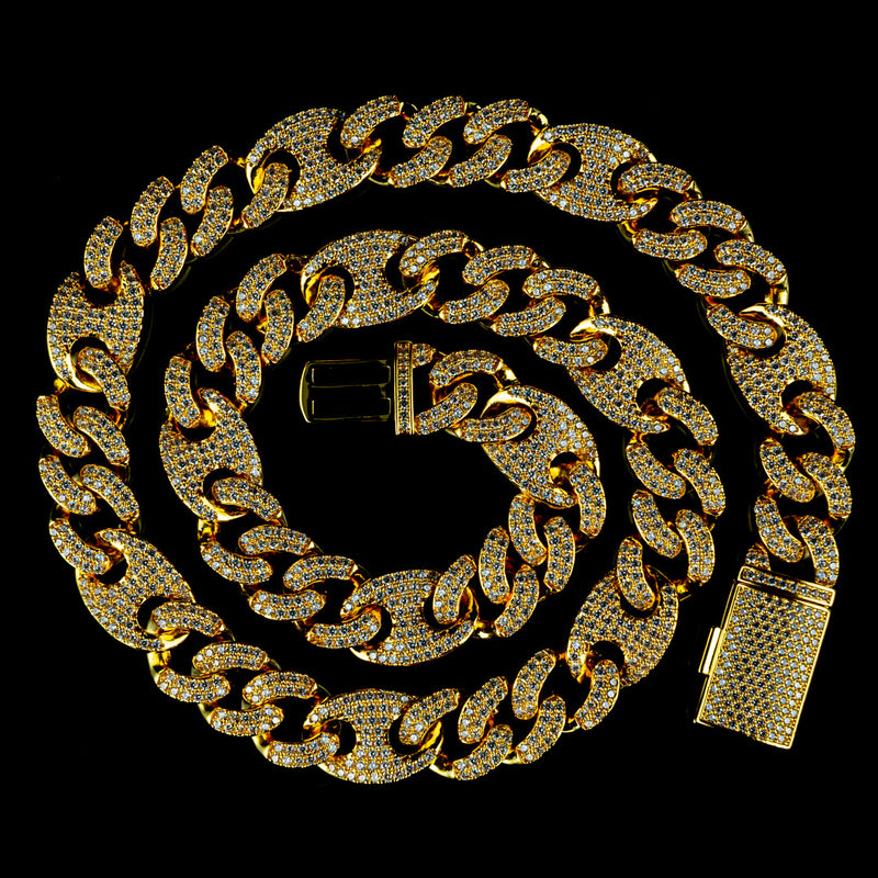 15mm Diamond Mariner Cuban Chain in Yellow Gold