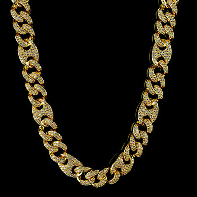 Diamond Mariner Cuban Chain in Yellow Gold