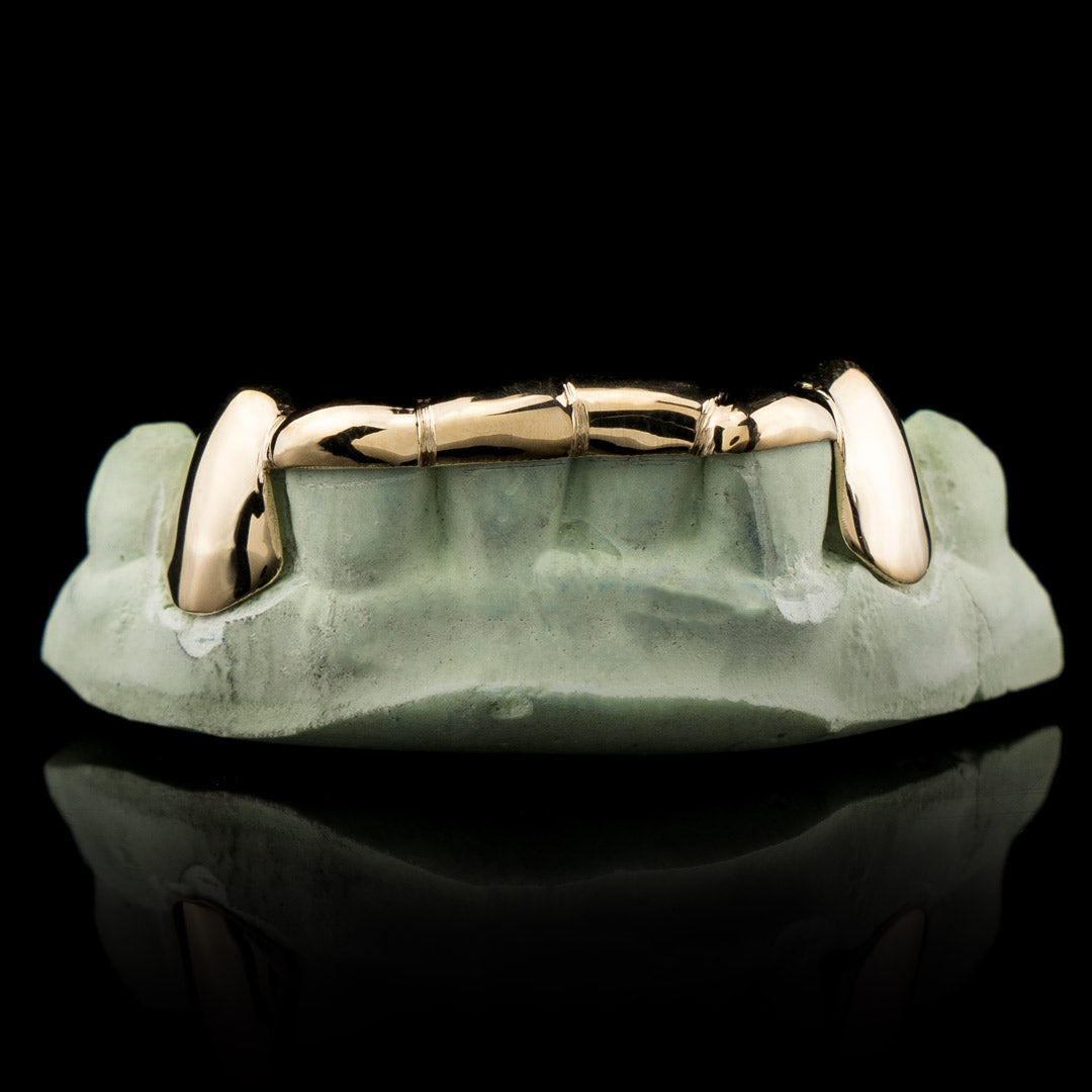 Solid Gold 6 Teeth Connecting Bridge Custom-Made Grillz Bar