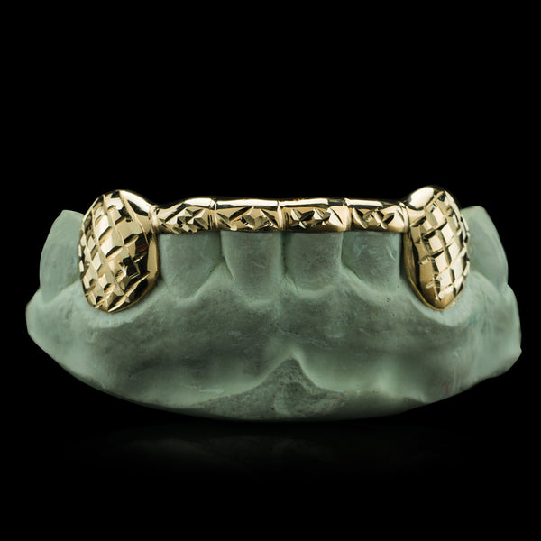 [CUSTOM-FIT]  Solid Gold 6 Teeth with Connecting Bridge Grillz Bar