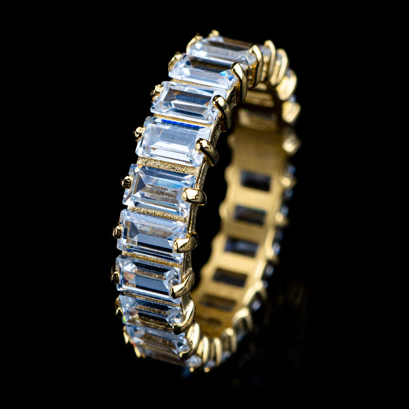 Diamond Baguette Cut Eternity Ring in Yellow Gold