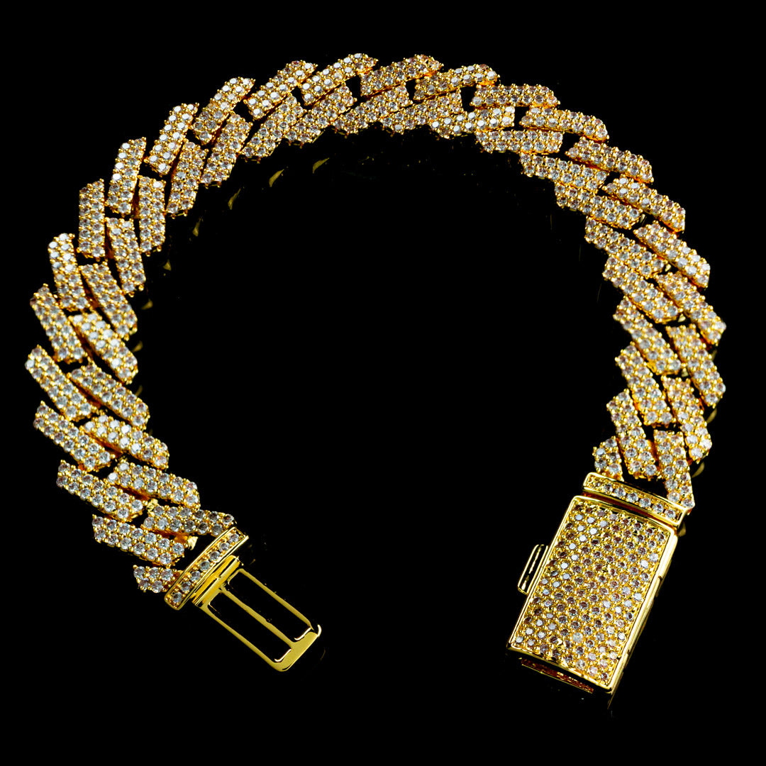 Diamond Prong Set Cuban Bracelet in Yellow Gold