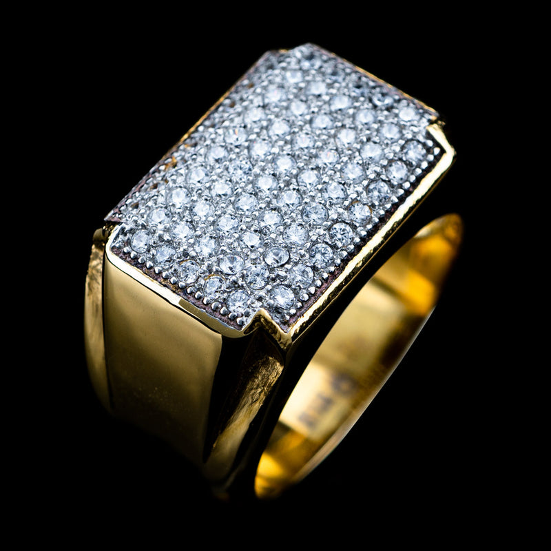Diamond Rectangle Ring in Yellow Gold