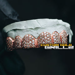 Solid .925 Sterling Silver Rose Gold Plating Iced Out CZ Diamonds Custom-Made Grillz