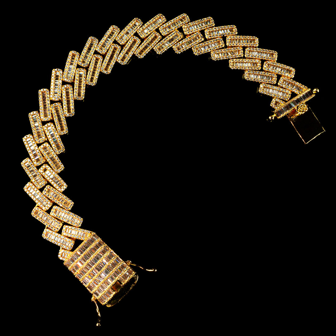 19mm Diamond Baguette Cuban Bracelet in Yellow Gold